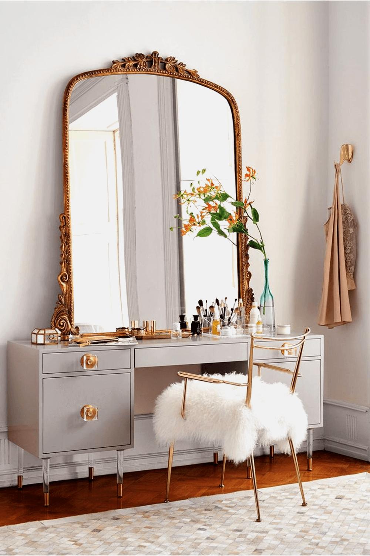 Large mirror vanity makeup ideas