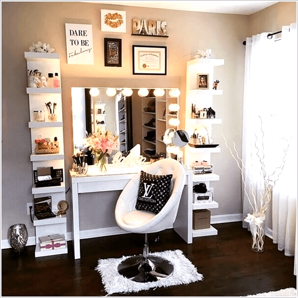 Makeup vanity mirror decoration ideas with led bulb lighting