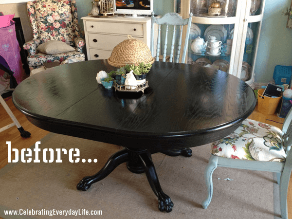 One color dining table dark before makeover