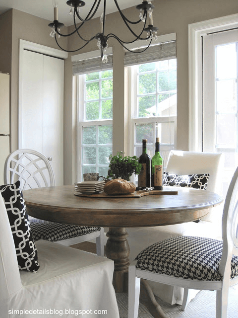 Round dining table after makeover with Weathered look