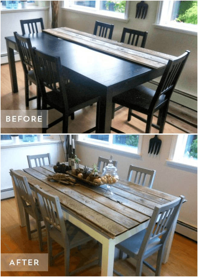 Rustic dining table makeover ideas before after