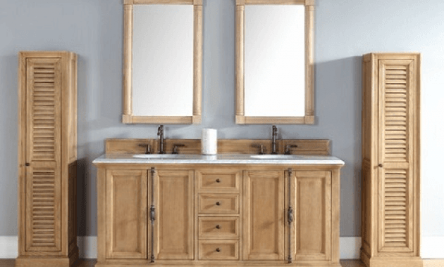 Rustic unfinished vanity cabinet sets wood solid with mirrors