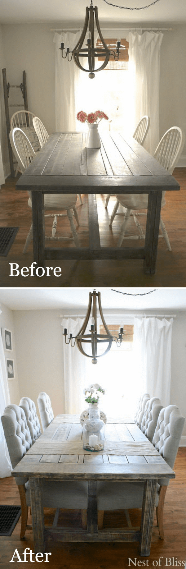 Simple dining table makeover with change the chairs before and after