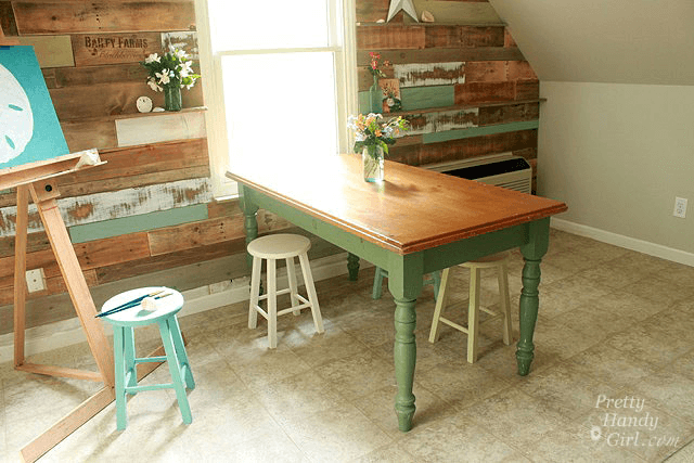 Wooden old dining table before makeover
