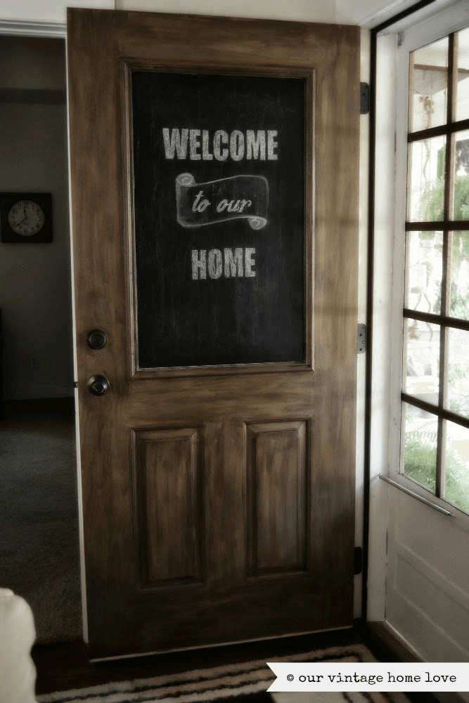 Chalkboard front door sign decor