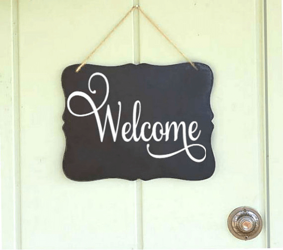 Chalkboard hanging sign