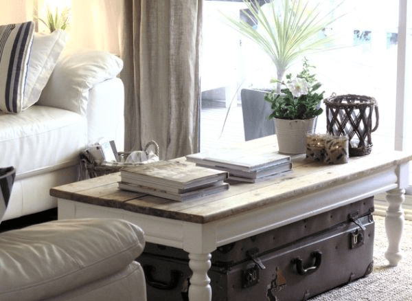 Coffee table living room decoration using book