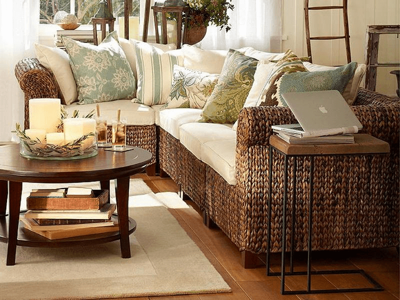 Coffee table living room with candle