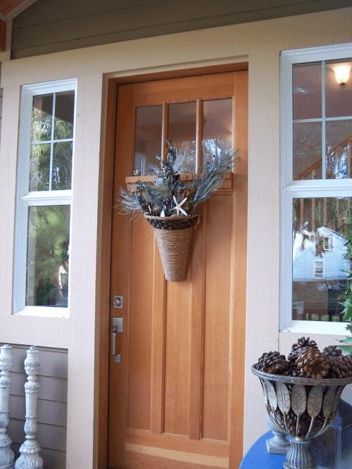 Flower basket door hanger decor ideas