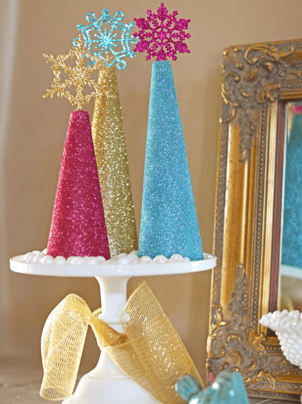 Glitter tree centerpiece craft ideas
