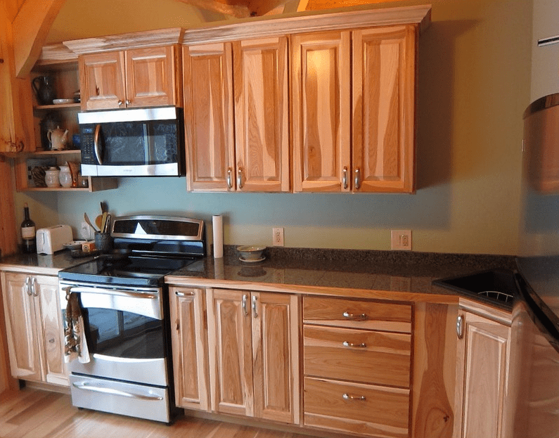 Hickory unfinished kitchen cabinets drawers