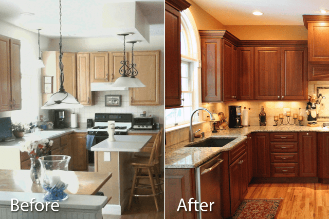 Makeover ideas unfinished kitchen cabinets before and after