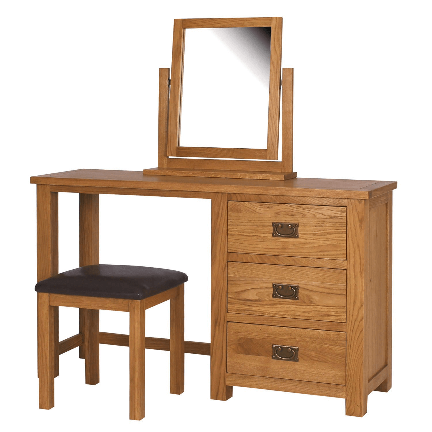 Oak unfinished wood dressing table with mirror and chairs