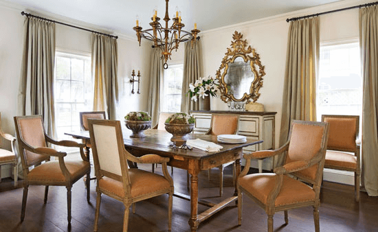 Traditional dining room decor with ornaments chandelier hanging