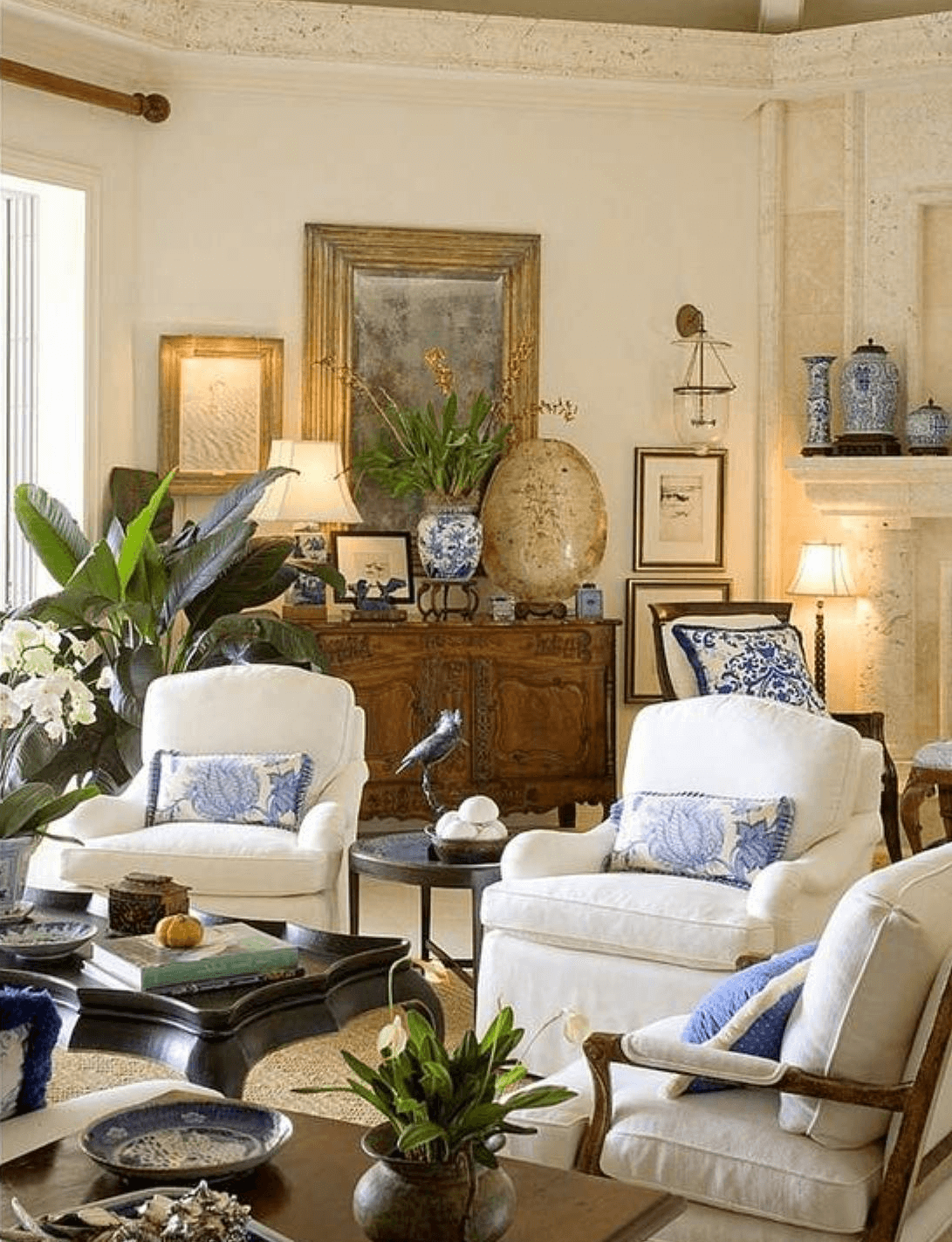 Traditional home decor ideas for living room using jars and flower pots