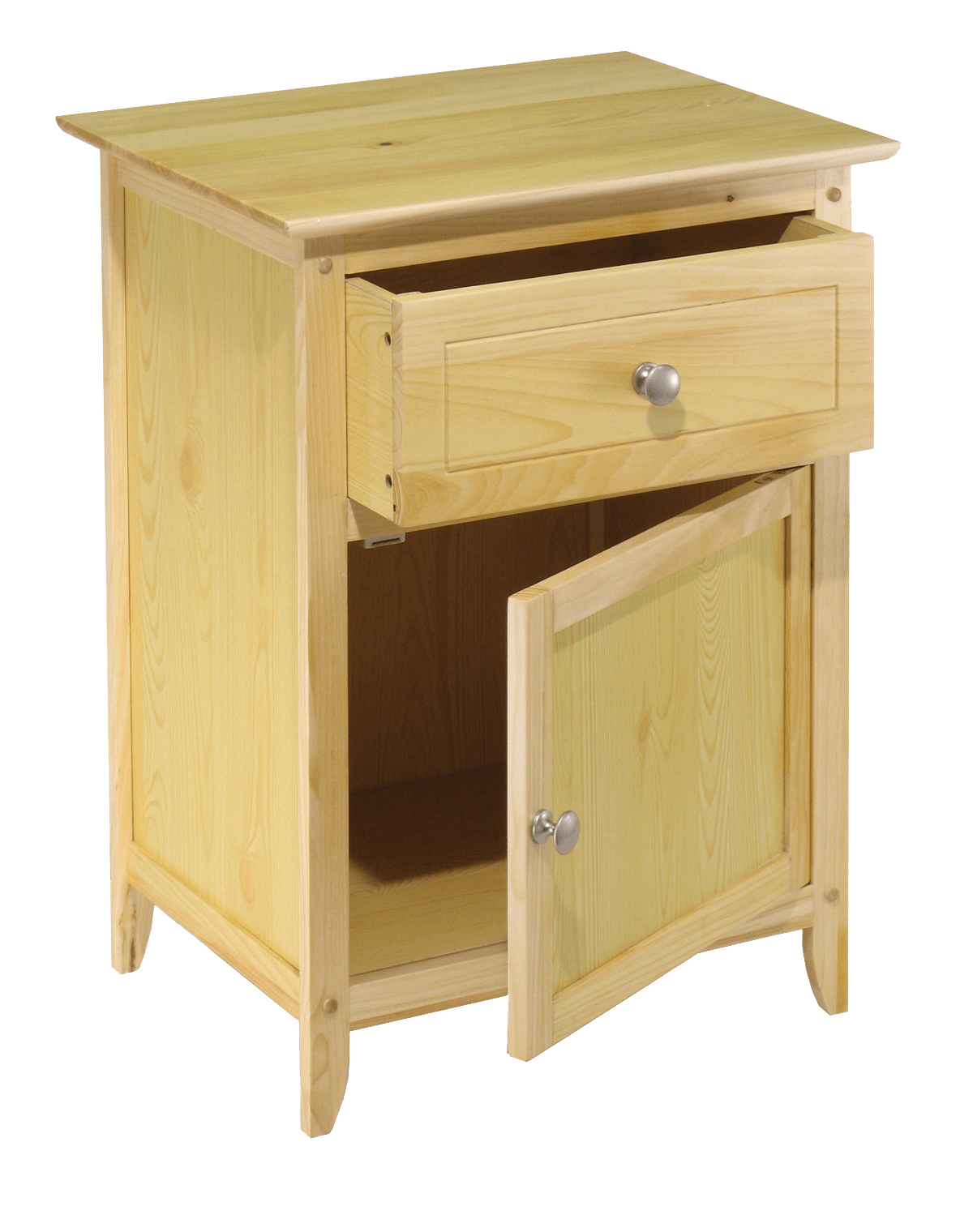 Unfinished natural night stand with cabinet and drawer