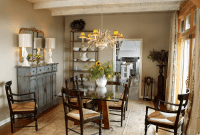 Artistic decoration for rustic buffet table in dining room