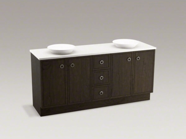 Bathroom vanities toe kick drawer