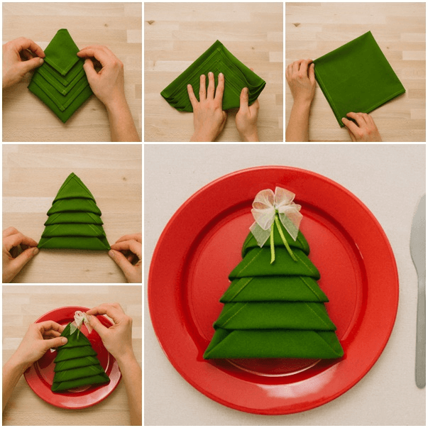 Christmas Folding Tree Napkins for Dining Table Decoration