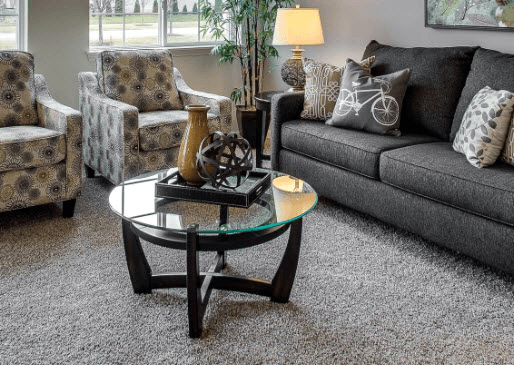 Coffee table living room decor when not in use with tray
