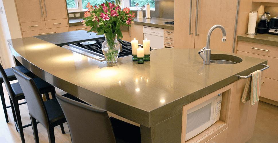 Concrete combination ideas for unfinished kitchen island countertop