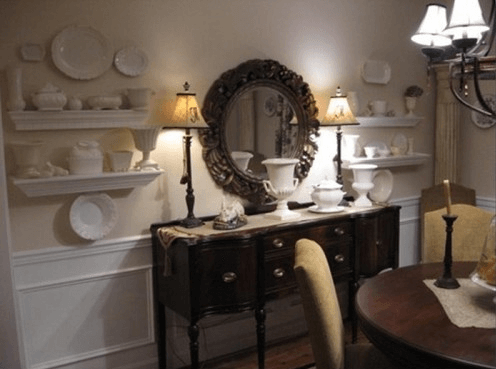 Decorate Buffet Table in Dining Room with Lamp, mirror, and glass