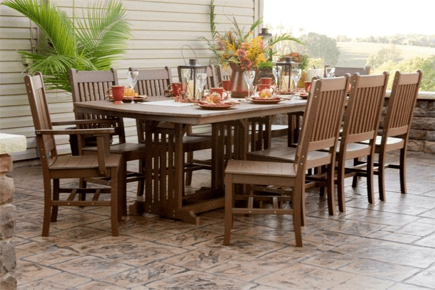 Dining Table in an Outdoor Terrace Amish Polywood Orchid