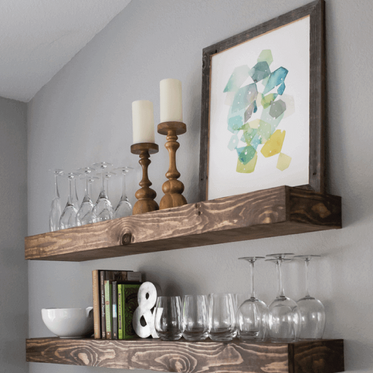 Floating display shelves for wall dining room decor small spaces