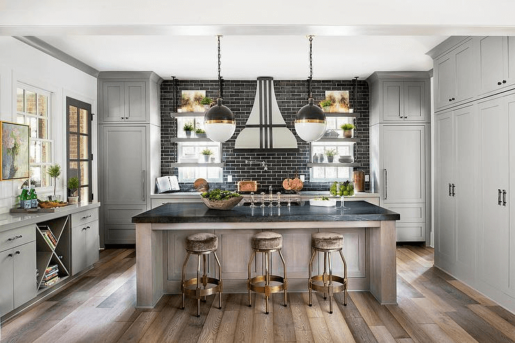 Glossy Black Marble kitchen island countertop