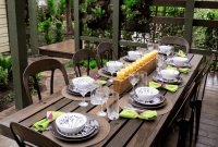 How to decorate outdoor dining table terrace patio with wooden furniture set and candles