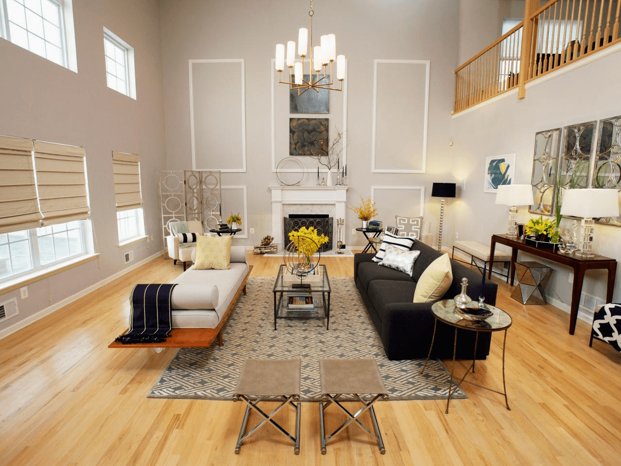 Modern living room lighting high ceiling with hanging chandelier and large window