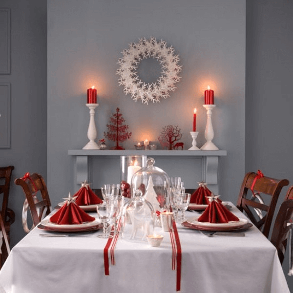 Red ribbon for Christmas dining table decor