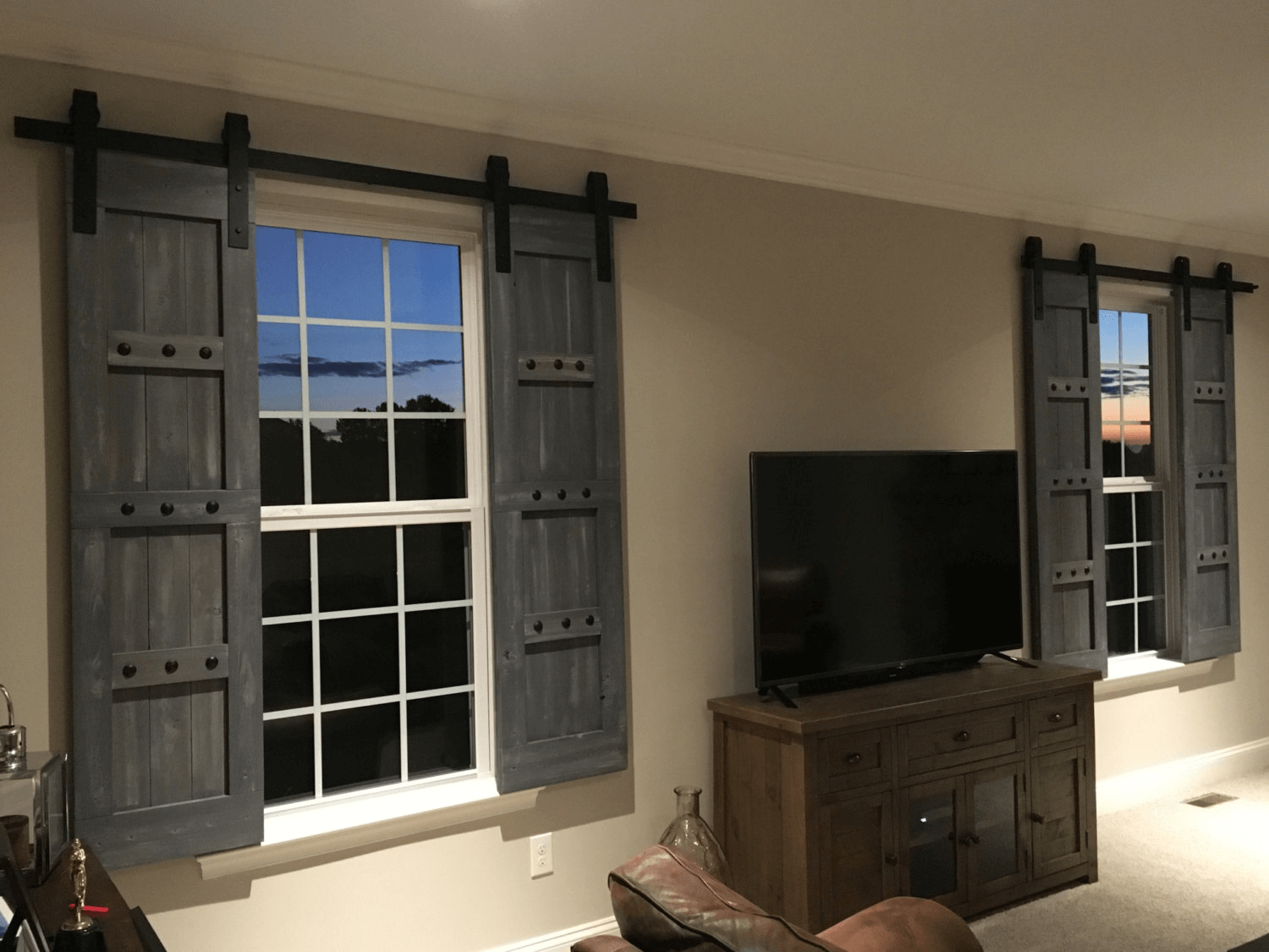Sliding window shutters indoor