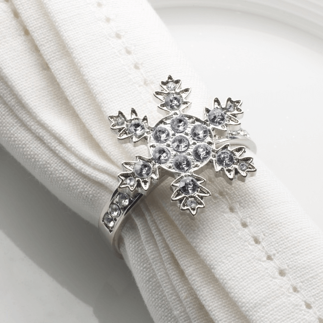 Snowflake napkin ring for dining table decorations