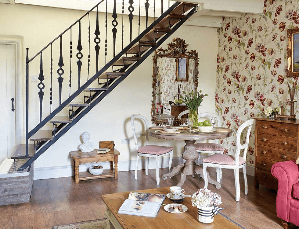 Dining room table decor for small family for Dining room under stairs