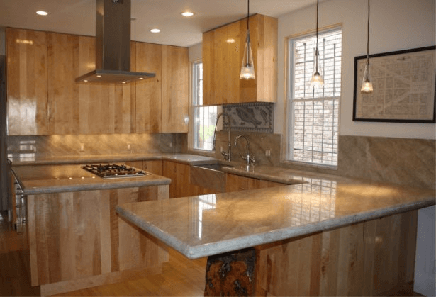 Warm Brown Tone kitchen island countertops