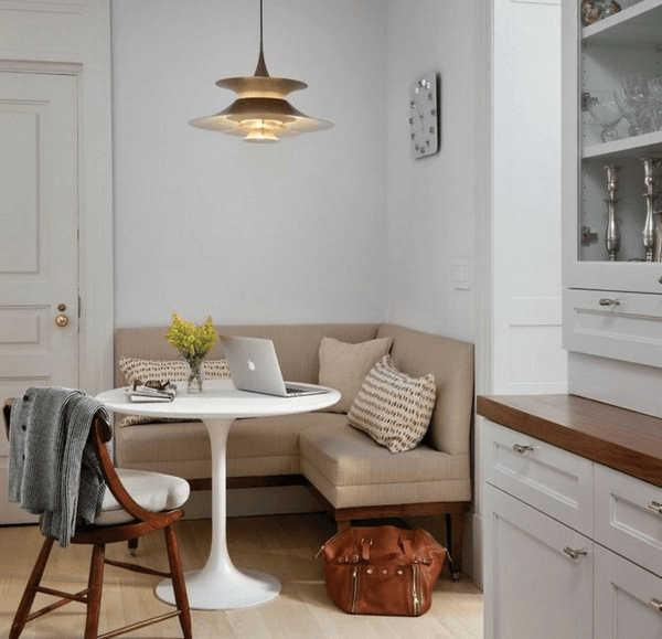 White narrow corner dining room table decor for small family