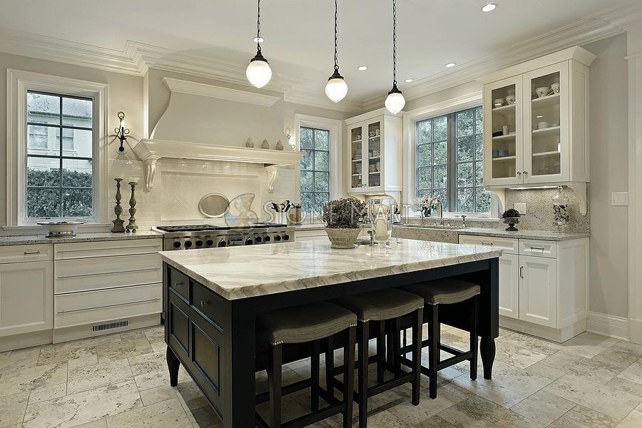 White tone marble kitchen island countertop