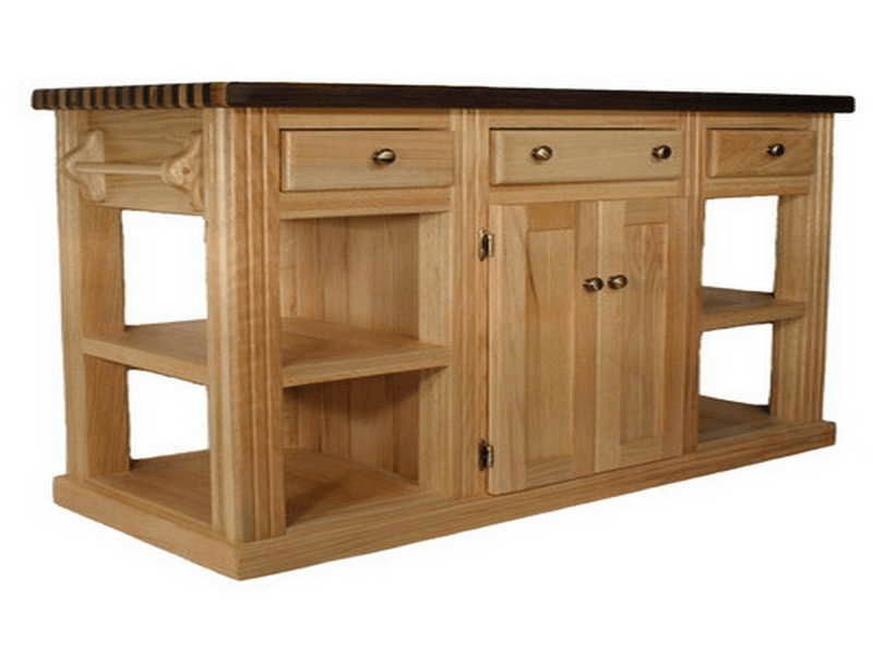 Wooden unfinished kitchen island base with optional top finishing kit