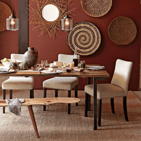 Basket wall dining room Farmhouse style ideas