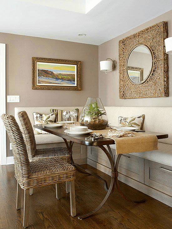 Bench storage for small dining room decor ideas