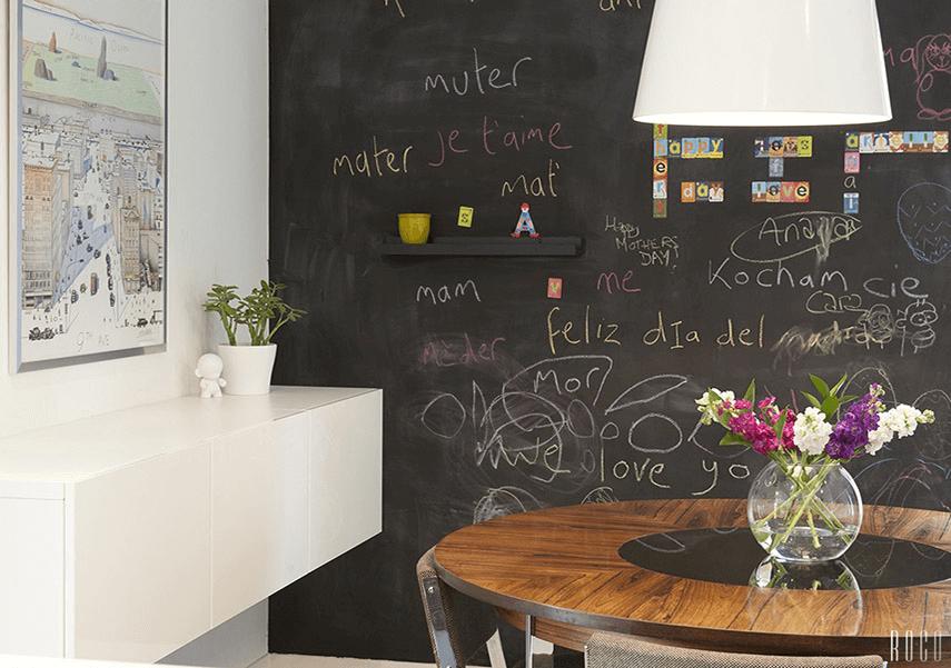 Black Board dining room wall decor unique ideas