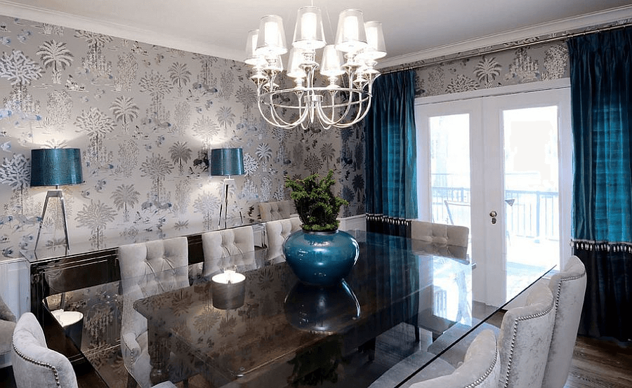 Blue Grey Dining Room Wallpaper Ideas