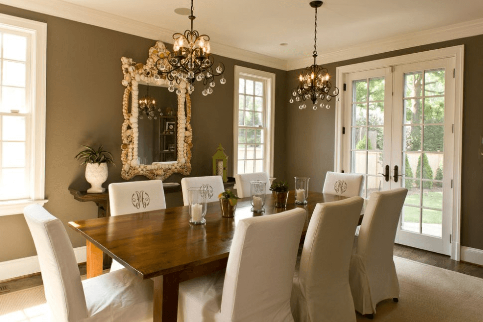 Brown wall color dining room ideas