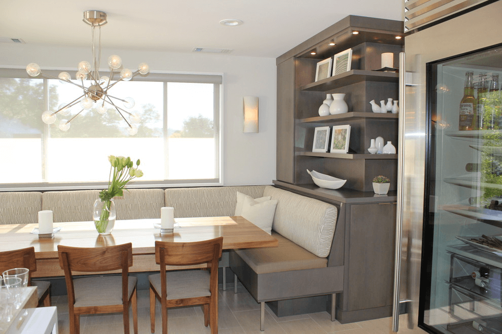 Built in shelves and seating for small dining room wall decor ideas