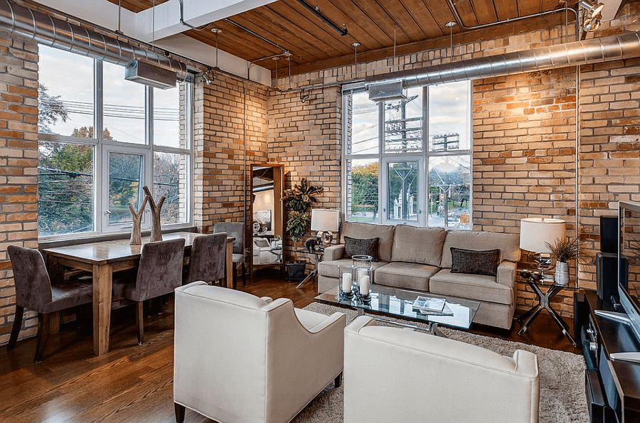 Exposed Brick Walls Traditional Dining Room Decor