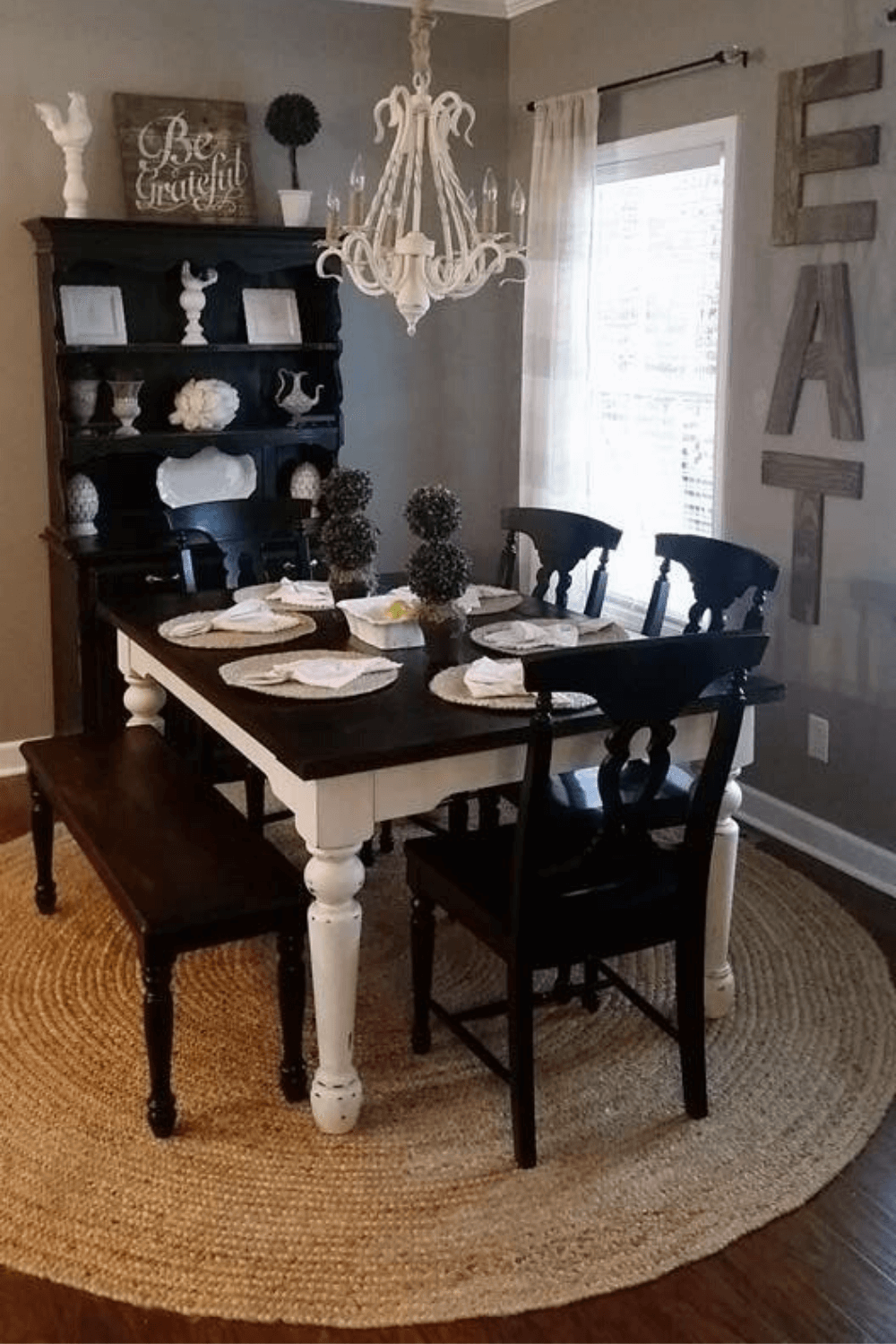 FARMHOUSE DINING ROOM DECOR BLACK TABLE