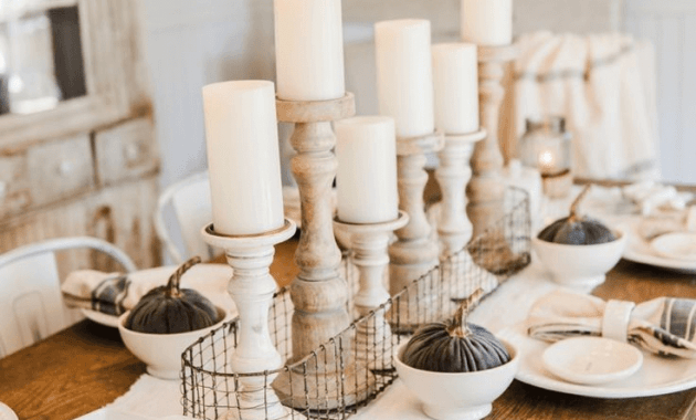 Fall Dining Room Table Centerpieces Candles Autumn Bounty