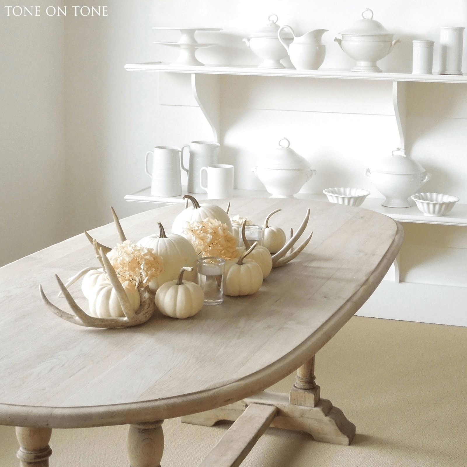 Fall dining table decor ideas antlers