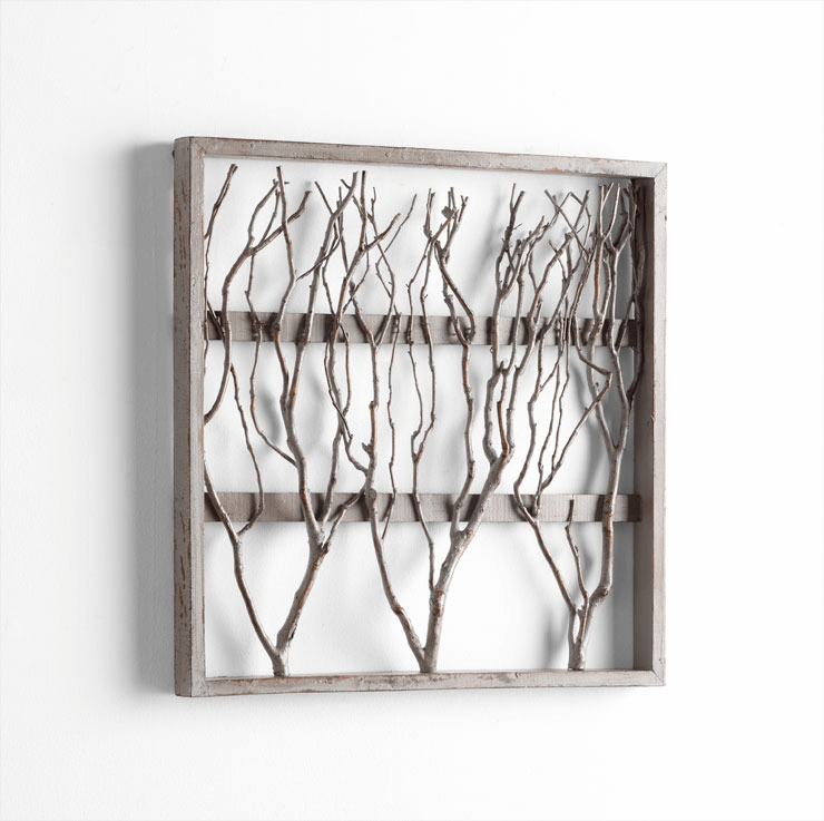 Framed Twigs dining room wall decor